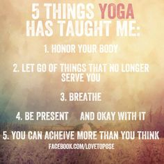 """""""Five things Yoga has taught me"""", downdogboutique.com #Illustration #Yoga"""