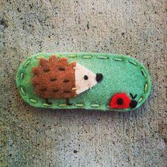 Design Seen In Pregnancy & Newborn Magazine Hedgehog and Ladybug Mint Wool Felt Hair Clip on Etsy, $6.00