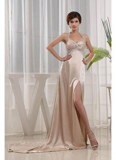 Low Back Halter Side Split Champagne Prom Dress£119