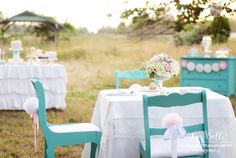 Vintage Outdoor Birthday with turquoise chairs  #turquoiseshower #tealshower #shabbychic #shabbychicshower #partyofthemonthfinalist