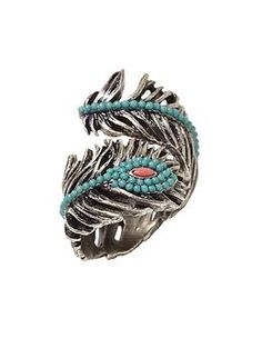 Lucky Brand Pave Peacock Feather Ring I'll take it!