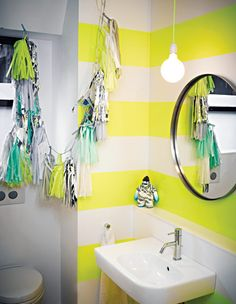 interior design, powder room, modern bathroom design, bathroom designs, striped walls, kid bathrooms, modern bathrooms, neon yellow, design bathroom