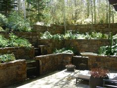 This rock wall terraced landscape is stunning. Perfect for hilly & sloped Portland backyards.