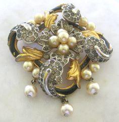 TRIFARI Empress Eugenie Enamel Pearls & Rhinestones Brooch