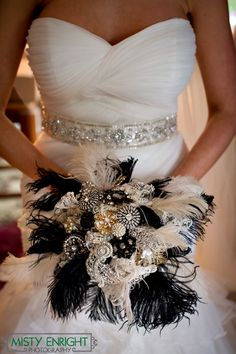 1920's Hollywood Wedding Feather, and Lace Bouquet lace bouquet, wedding feathers, girl bouquet