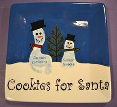 "Fantastic ""Cookies for Santa"" Plate with footprint snowmen!"