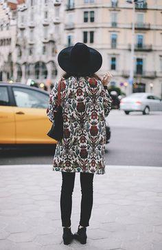 jacket, floral patterns, printed coat fashion, black boots, street styles, fashion women, hat, style fashion, pattern coat