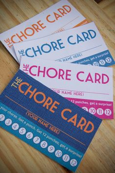 DIY Printable Punch Cards - chore cards, stay in bed cards. £4.00, via Etsy. // totally cute idea