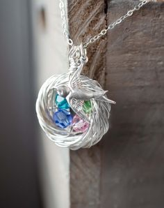 Mother's Day Birds Nest Necklace Sterling Silver by GlassPoppies, $48.00