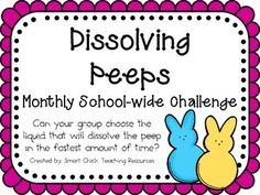 Dissolving Peeps ~ Monthly School-wide Science Challenge ~ STEM Activity  $ monthly schoolwide challenges, stem activities, scienc challeng, stem monthly, stem activity, challenge activities for kids