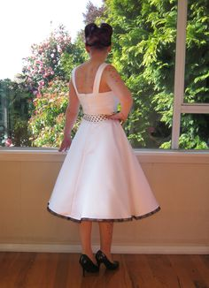 1950s 'Audrey' Pin Up Wedding Dress in a with Polka by PixiePocket, $315.00