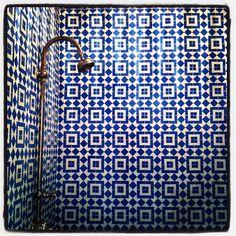 tiles, shower heads, tile patterns, bathrooms, tiled showers, mosaic, bohemian, blues, tile showers