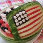 Red White and Blue 4th of July Watermelon Bowl Salad