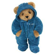 "15"" Blue Hoodie-Footie Bear from Vermont Teddy Bear. $69.99 #Birthday #Gift #TeddyBear"