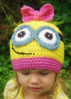 Minion Hat Girls Crochet Minion Hat Yellow by BellaBeansCrochet