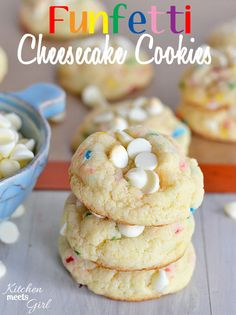 Funfetti Cheesecake Cookies from www.kitchenmeetsgirl.com - using pudding mix makes these cookies so soft and fluffy you won't be able to st...