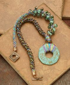 NECKLACE Asymmetrical Kumihimo and Verdigris Pendant  by TealEves, $95.00