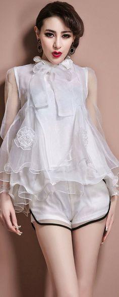 Lace cape casual silk garment, multi-matcher, high collar, organza...love the top