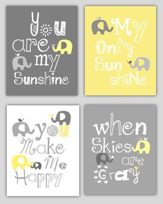 Items similar to Kids Wall Art Yellow and Gray Nursery Decor Prints You Are My Sunshine Elephant and bird - 8x10 - baby shower gift, for boy or girl on Etsy