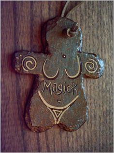 Primitive Spiral Magick Goddess Door Wall Hanger Painted Slate Stone  $13.00