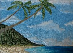 Hawaiian Tropical Landscape Seascape Textile - This Beautiful work of ART by Karen L Cox was chosen as a Tie First Place For the QQQ Quilt of the Month for January 2014. Congratulations Karen!