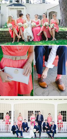 sock, navy and coral bridesmaids, coral and navy bridesmaids, navy and coral wedding, dress, wedding colors, color combinations, coral bridesmaid navy