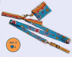 Make your own dog collar, matching leash and poop bag dispenser that will hold your cell phone and your keys. #dog #sewing #pattern #leash #collar