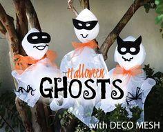 DIY: Halloween hanging masked ghosts