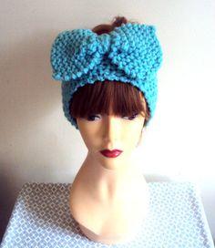 Knit Big Bow Head Band Ear Warmer Headband Turban Knit Head Wrap Women Clothing Accessories Gift Ideas Fashion Accessories by GrahamsBazaar