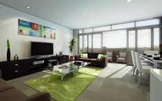 Wide artwork above TV: Modern Rooms Designed Around Televisions