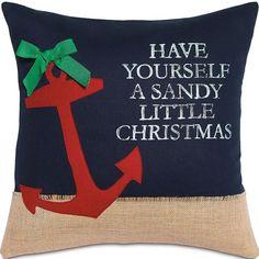 Sandy Little Christmas Pillow: Coastal Home Decor, Nautical Decor, Tropical Island Decor