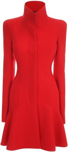 Wear NOTHING UNDERNEATH. Well, except for patterned black pantyhose. McQueen Wave Panel Short Dress Coat - Lyst