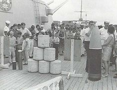 16 inch powder bags and projectile during open house aboard USS New Jersey BB 62 in 1968