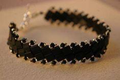 Tila bracelet in black tila & crystals-