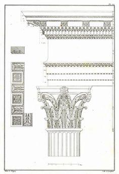 1842 Antique Palladio Architectural Print, Temple of Mars Ultor, Rome