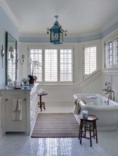 lantern, interior, coastal cottage, blue, light fixtures, tub, bathroom designs, white bathrooms, design bathroom