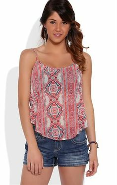Deb Shops Paisley Print Flowy Tank Top with Paisley Print $13.03