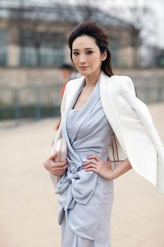 white blazer with a pastel dress {pretty}