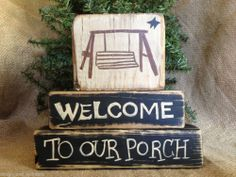 Primitive Country Swing Welcome To Our Porch Summer Shelf Sitter Wood Block Ser #NaivePrimitive