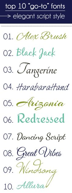 "I need to check these out...another pinner says: top ""go-to"" fonts in elegant script style..."