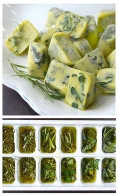 preserving herbs - herbs, olive oil, freeze in ice cube trays, then put in freezer bags, taking out as much air as possible, use the frozen herb squares through the winter