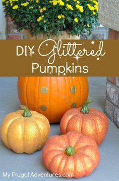 DIY Glittered pumpkins