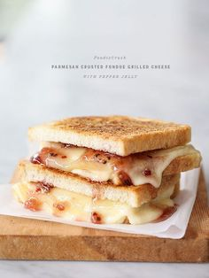Parmesan Crusted Three Cheese and Garlic Grilled Cheese Sandwich