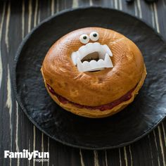 Bagel of Doom: Your basic PB&J takes a wicked twist, thanks to plastic pearly whites. More silly than sinister, this bready bad boy makes a great seasonal lunch bag surprise or super-easy party snack.