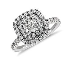 Double Halo Cushion Micropavé Diamond Ring in 18k White Gold (1.52 ct. tw.)  #bluenile