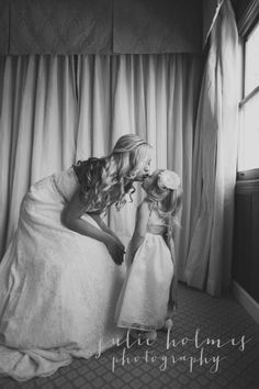 Mother and daughter or flower girl on wedding day <3