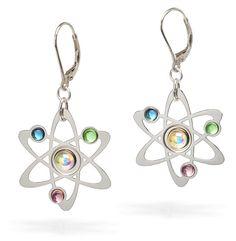 ThinkGeek :: Rutherford-Bohr Model Atom Earrings. LOVE THEM