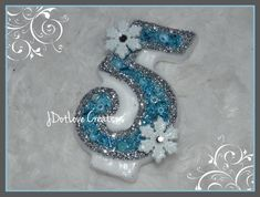 Frozen Inspired Birthday Candle with Snowflakes by JDotLove Creations - Frozen Party, Frozen Birthday
