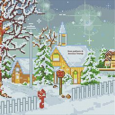 Snowscene around church free cross stitch pattern