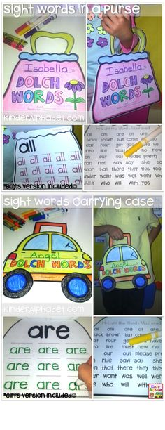 Portable Sight Words in a FUN carrying case. It includes a purse pattern for girls and a car pattern for boys. This FUN activity features the KINDERGARTEN DOLCH LIST (52 words).